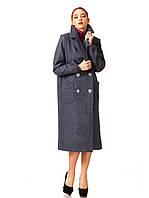 Пальто кашемировое на подкладке оптом. Модель ПЛ005_синий джинс, фото 1