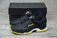 Мужские кожаные кроссовки Fila черно-желтые (реплика)