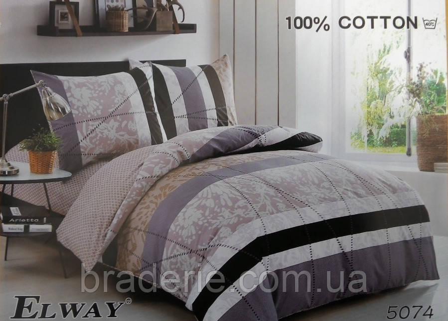 Сатиновое постельное белье евро ELWAY 5074 Контрастное