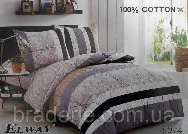 Сатиновое постельное белье евро ELWAY 5074 Контрастное, фото 2