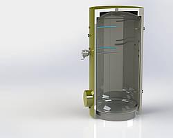 Бак косвенного нагрева эмалированный ВТ-00-1000 Куйдич, напольный косвенный водонагреватель