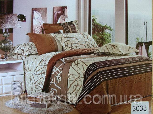 Сатиновое постельное белье евро ELWAY 3033 Корица