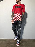 Мужская футболка з принтом Off-White красная ADA1922