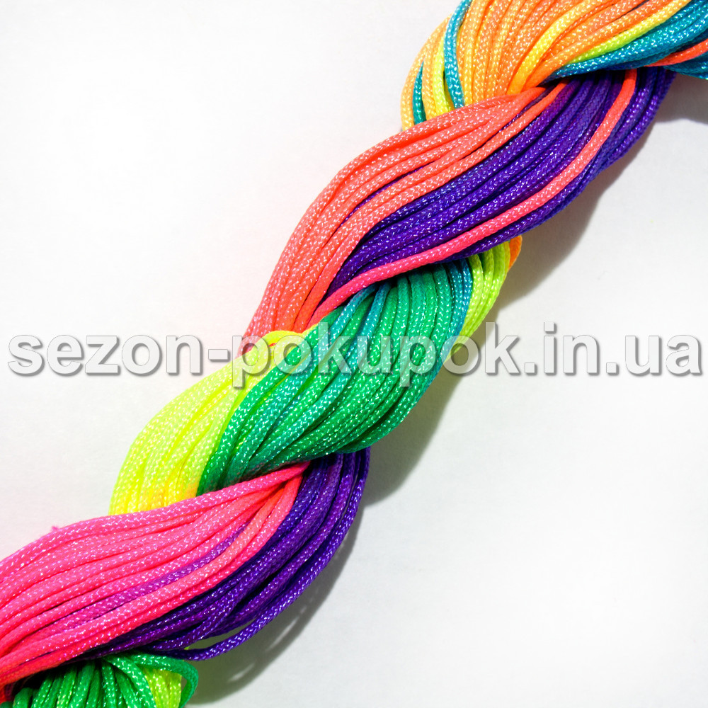 (12 метров) Шнур капроновый (шамбала) 2мм Цвет- ГРАДИЕНТ