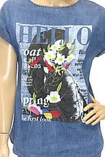 Футболки женские джинсовые с принтом і вышивкой, фото 3