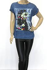 Футболки женские джинсовые с принтом і вышивкой, фото 2