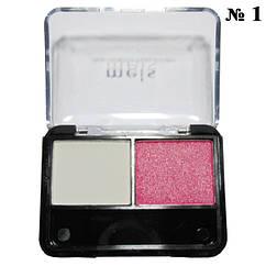 Тени MEIS MS-0225 2-х цветные Белый, Розовый Тон 01