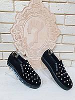 Слипоны  женские замшевые черные RS 1734/5, фото 1
