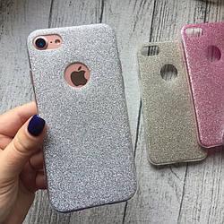 Силиконовый серебристый чехол с блёстками для iPhone 7