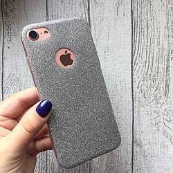 Силиконовый чёрный чехол с блёстками для iPhone 7