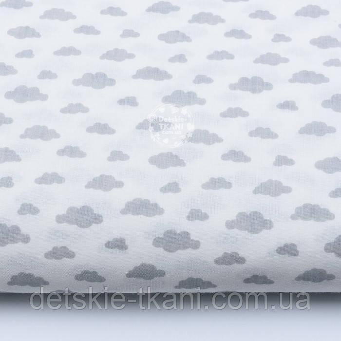 """Ткань бязь """"Маленькие облака разных размеров"""" серые на белом, коллекция Mini-mikro, №1885а"""