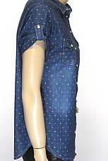 Джинсовая женская рубашка на короткий рукав в горошек, фото 3