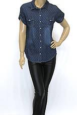 Джинсовая женская рубашка на короткий рукав в горошек, фото 2