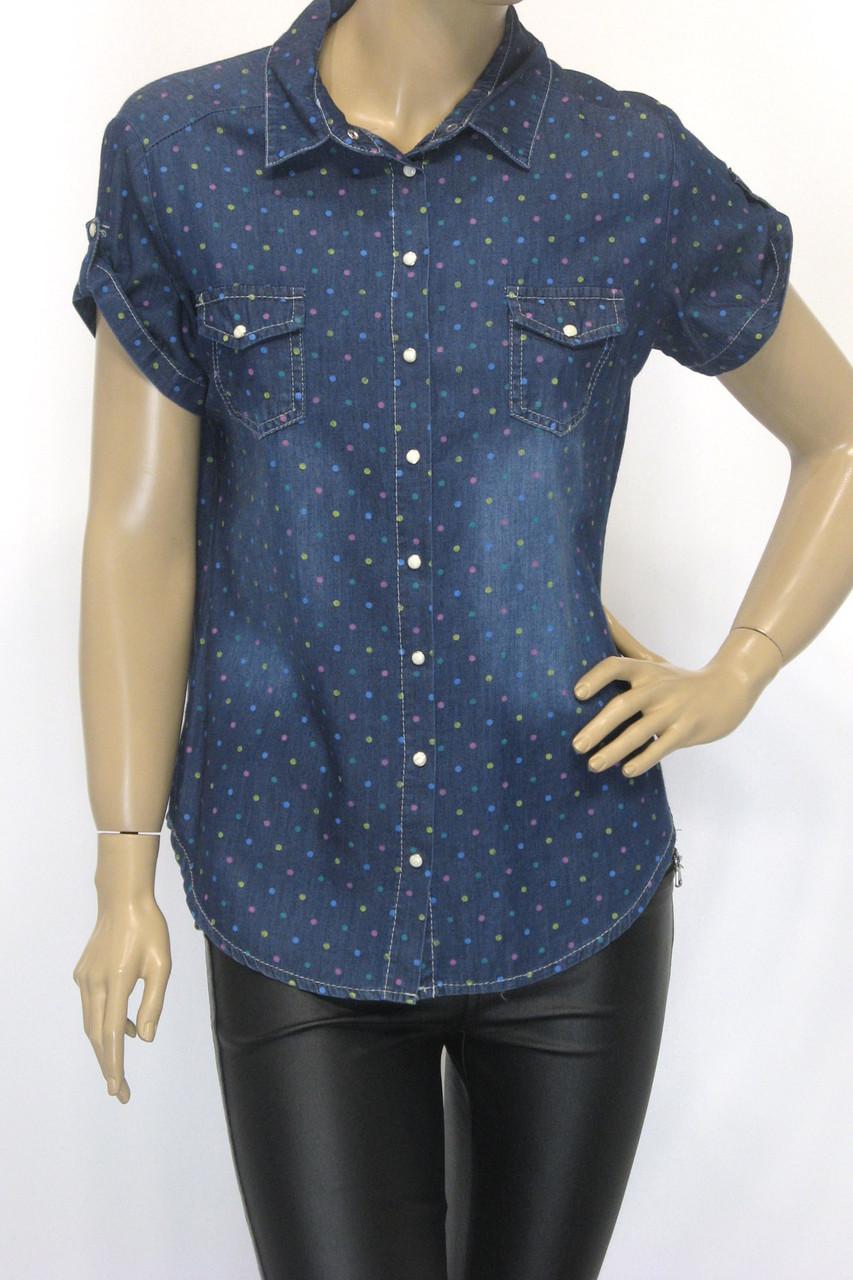 Джинсовая женская рубашка на короткий рукав в горошек