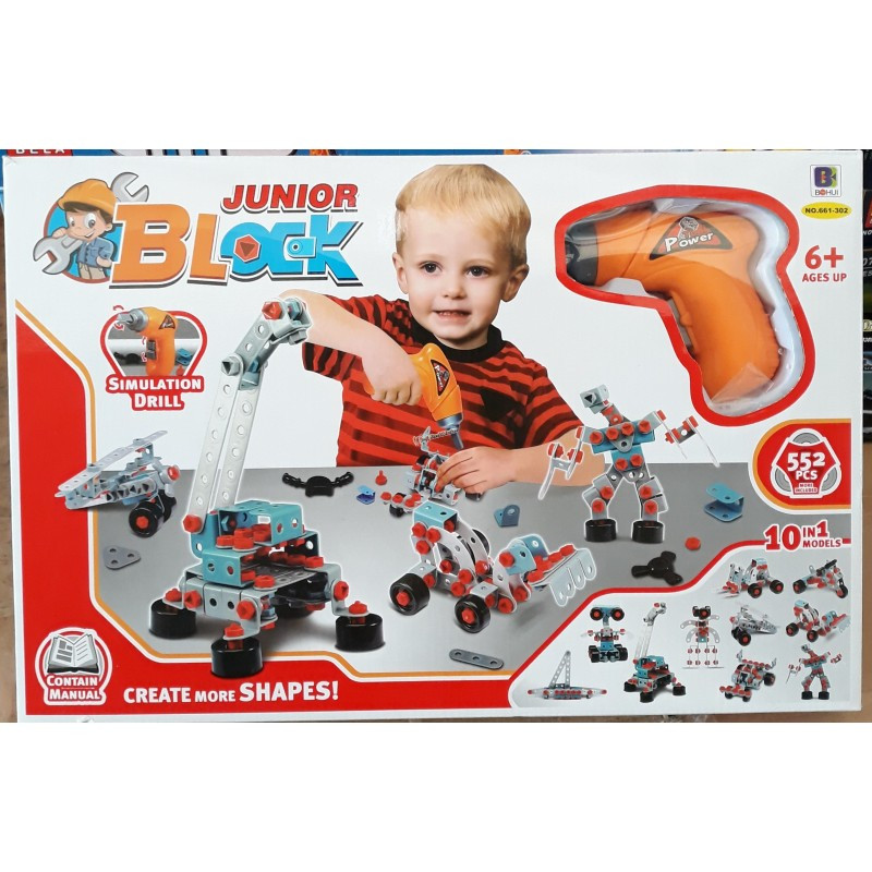 Конструктор с шуруповертом BOHUI Toys 661-302 552 деталей Junior Block