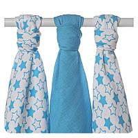 Пеленки детские бамбуковая, муслиновая XKKO 70х70 двухслойная 3 шт. Маленькие синие  звезды