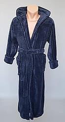 Махровый халат с капюшоном темно-серого цвета