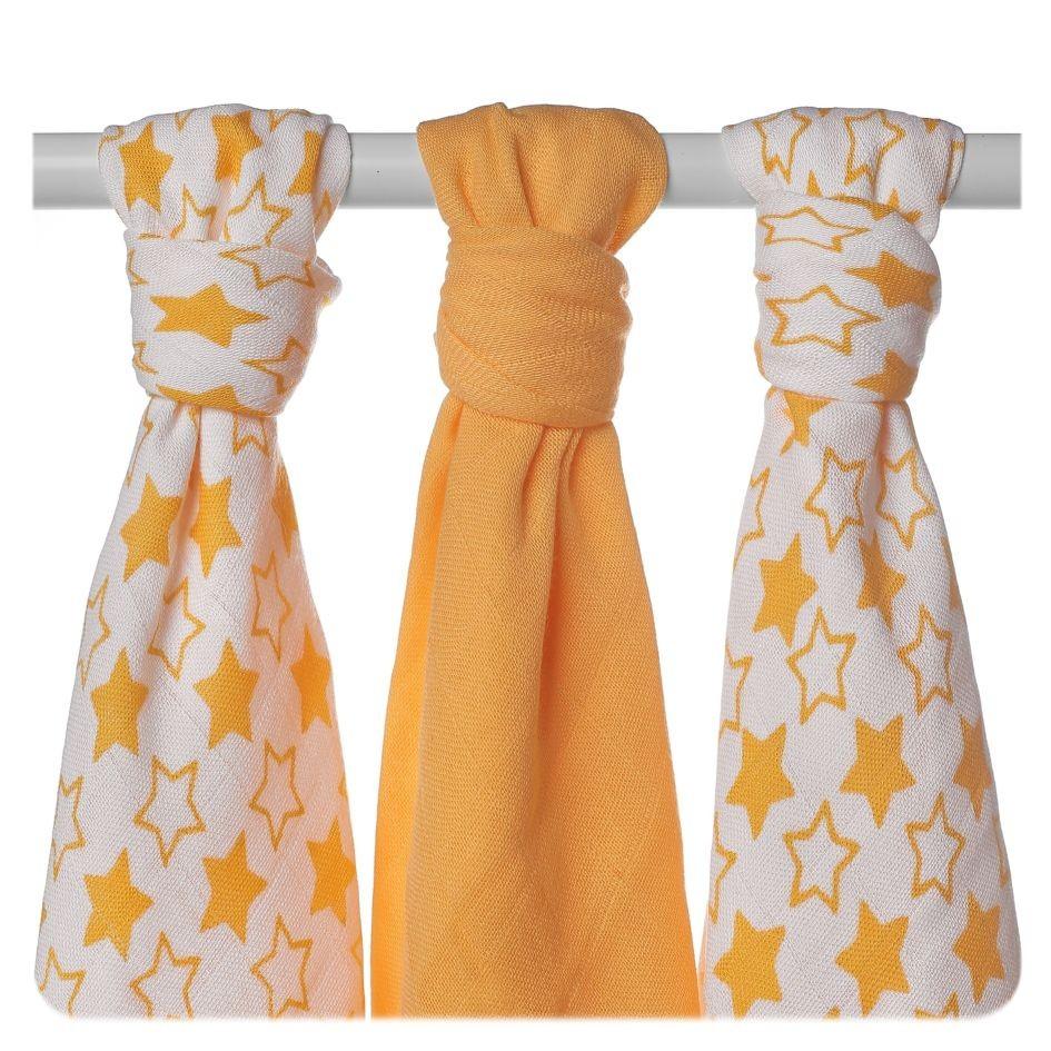 Пеленки детские бамбуковая, муслиновая XKKO 70х70 двухслойная 3 шт. Маленькие оранжевые звезды