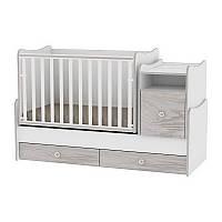 Кроватка-трансформер TREND PLUS NEW COLOUR WHITE/ARTWOOD + mattress (3 варианта использов.) ТМ Lorelli/Bertoni