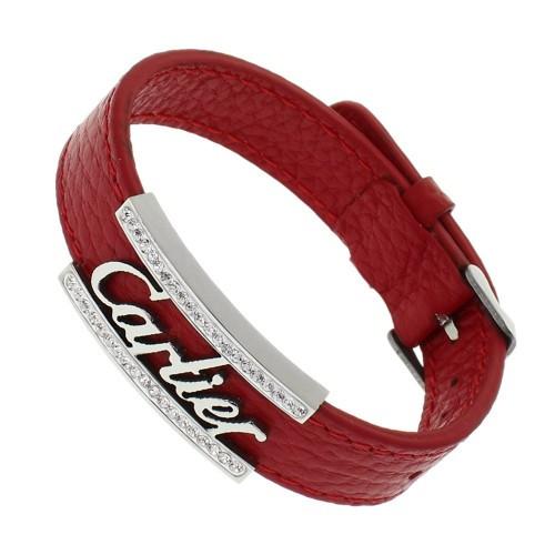 Кожаный женский браслет Cartier со вставкой из стали 22 см 129722