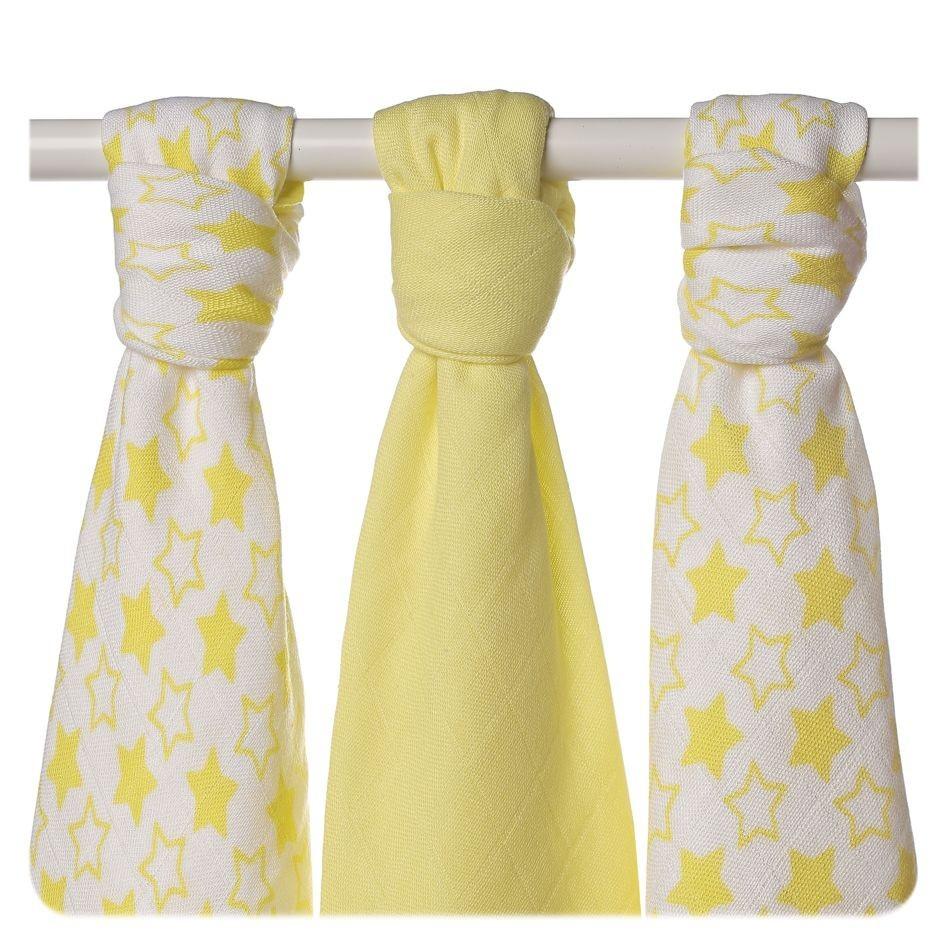 Пеленки бамбуковая, муслиновая XKKO 70х70 двухслойная 3 шт. Маленькие лимонные звезды
