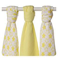 Пеленки детские бамбуковая, муслиновая XKKO 70х70 двухслойная 3 шт. Маленькие лимонные звезды