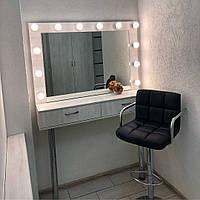 Рабочее место визажиста/стилиста, стол визажный дуб молочный, туалетный стол на ножках