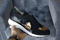 Кроссовки №471-15 черный замш + черный флотар + пайетки золото (21812 + черн след), фото 1