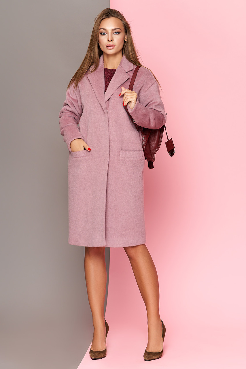 Модное пальто кокон розовое шерстяное весна-осень