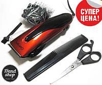 Машинка для стрижки волос Gemei 1012 сетевая с ножницами и расческой в комплекте, фото 1