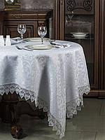 Скатерть с кружевом из ткани FOBOS, цвет белый