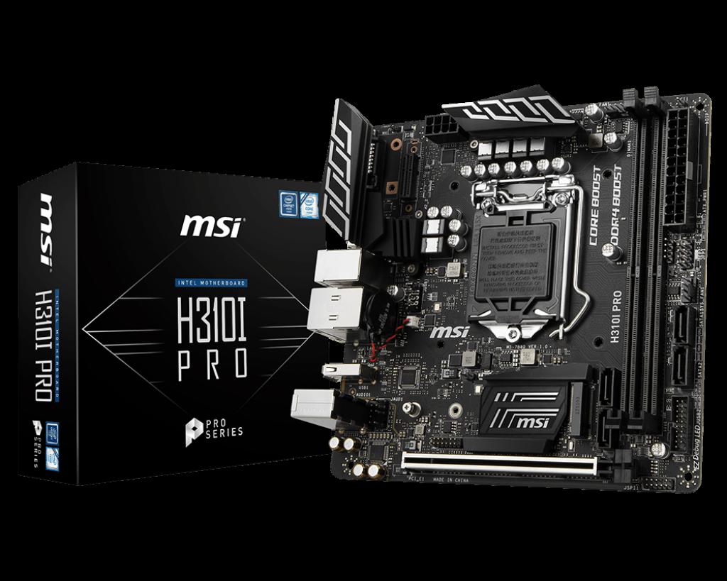 Мат.плата 1151 (H310) MSI H310I PRO, H310, 2xDDR4, Int.Video(CPU), 4xSATA3, 1xM.