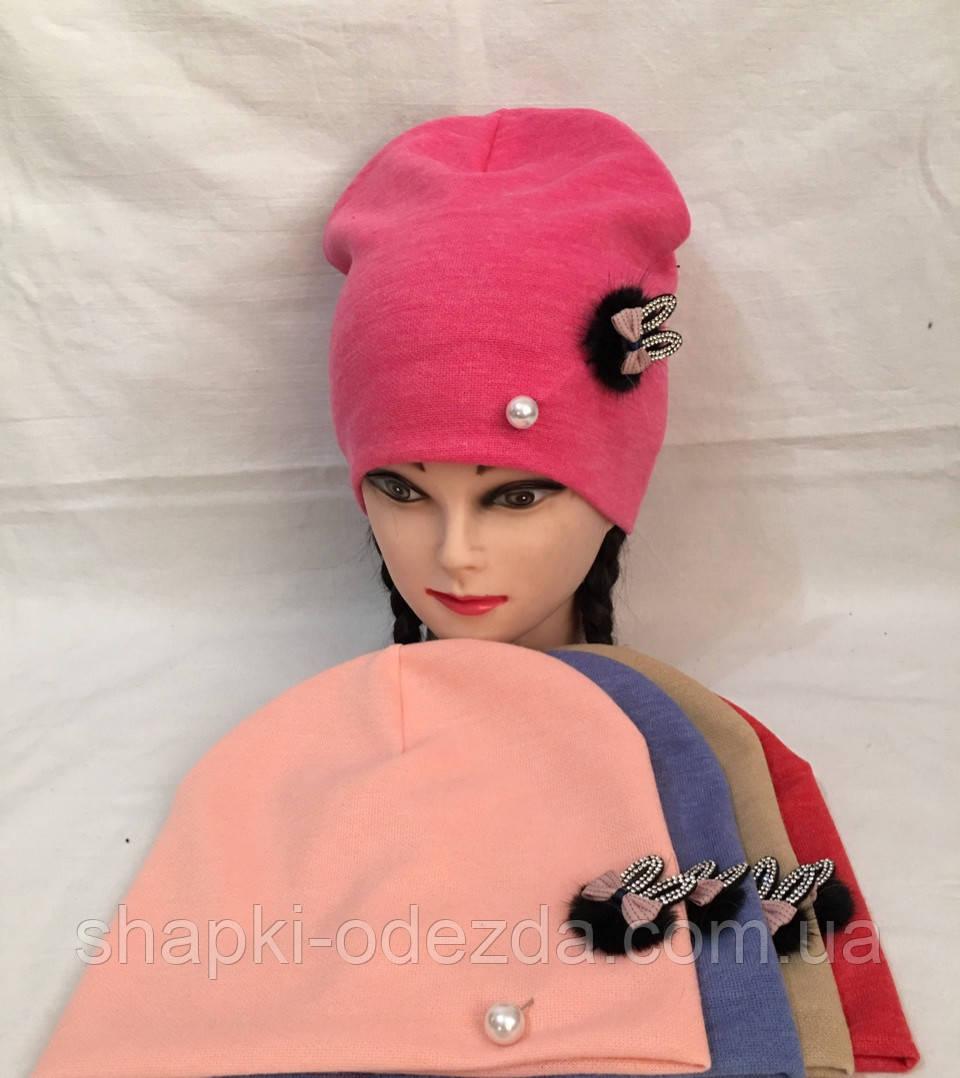 Детская трикотажная шапка  для девочки двойная р52-54 оптом