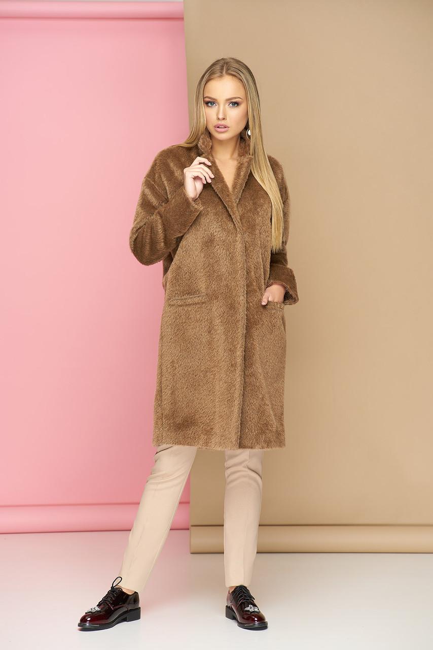 Пальто oversize шерстяное бежевое демисезонное