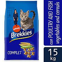 Brekkies Cat Complet - корм для котов полноценный с мясом, рыбой, овощами и таурином 15кг