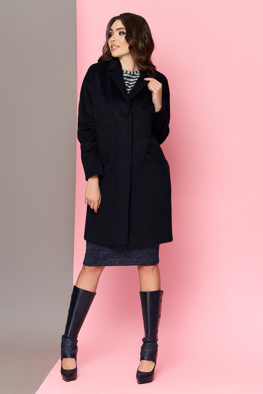 Шерстяное пальто oversize темно-синее весеннее