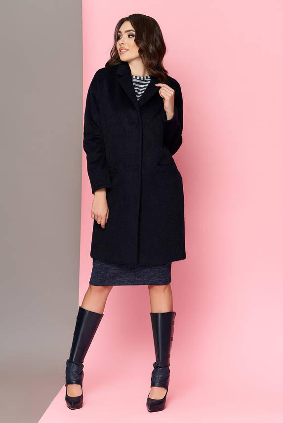 Шерстяное пальто oversize темно-синее весеннее , фото 2