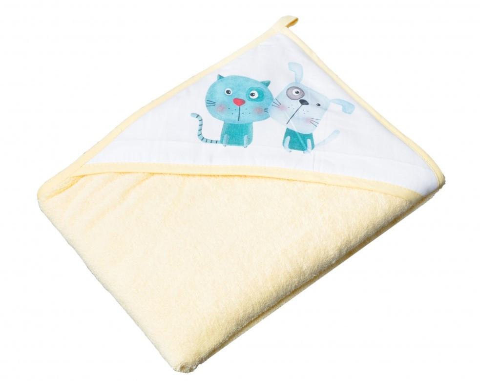Детское мягкое махровое полотенце Tega Кот и Пес 100x100 PK - 008 Yellow
