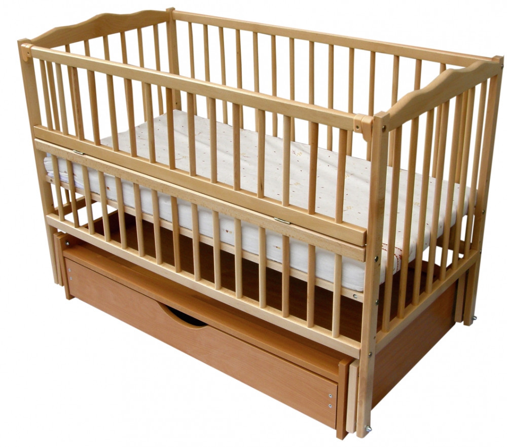 Детская кровать Веселка шарнир/ящик подшипник откидной бортик натуральный