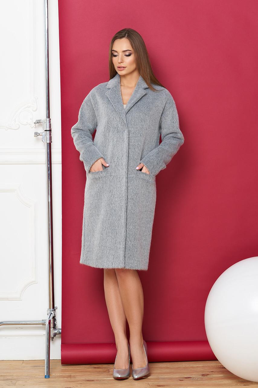 Пальто oversize женское шерстяное серое весеннее
