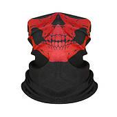Бафф-маска с рисунком черепа  - красный