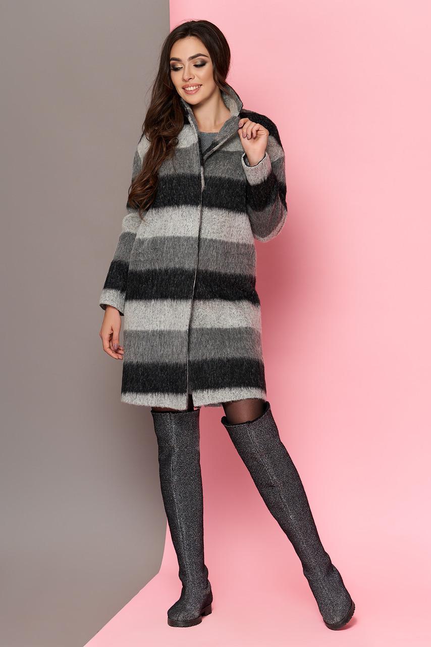 Пальто oversize женское шерстяное в полоску весеннее