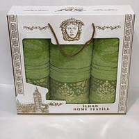 Набор полотенец в подарочной коробке Турция тройка Versace Разные цвета