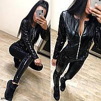 Женский стильный кожаный костюм