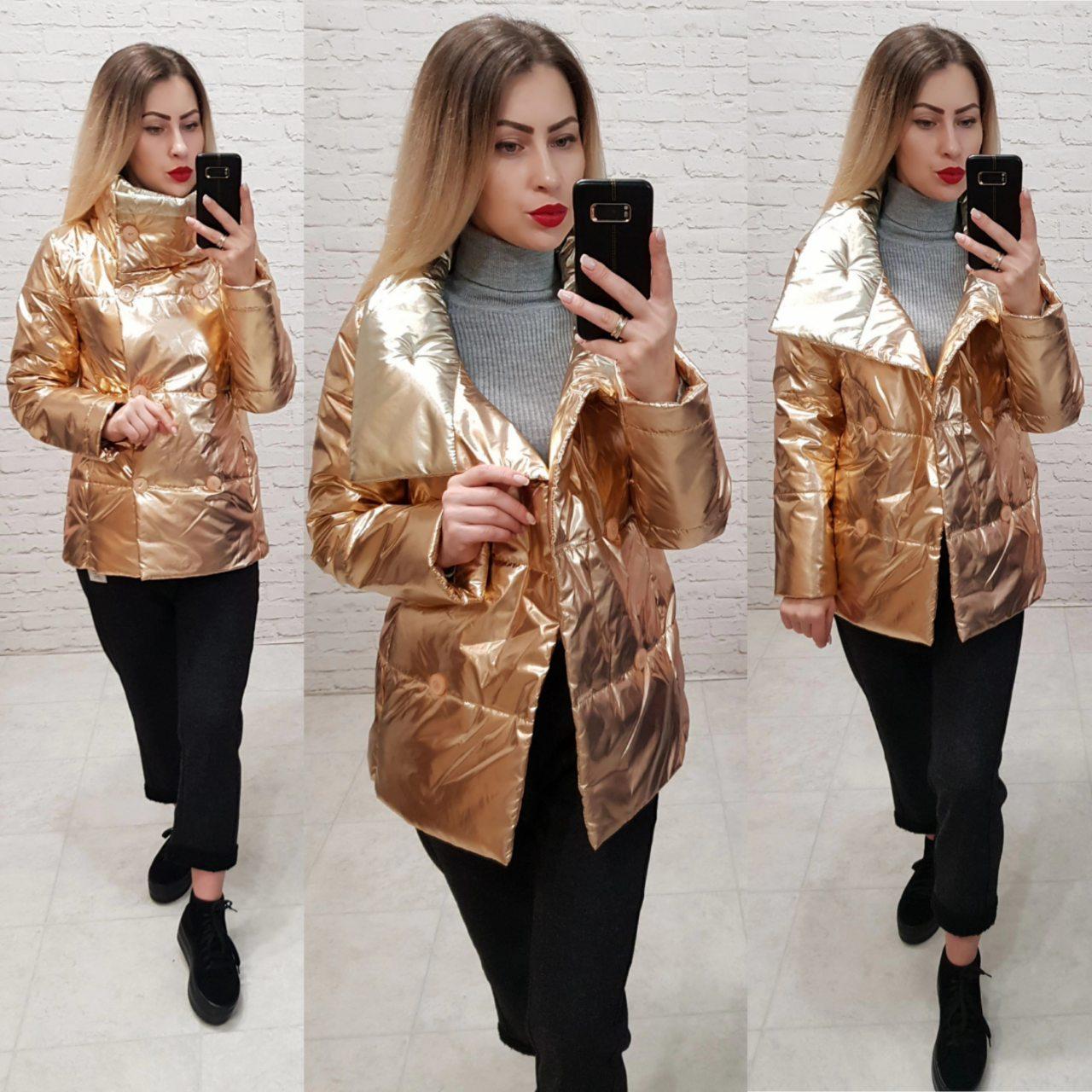 Куртка демисезонная, модель 1001,цвет бронза с серебряным воротом