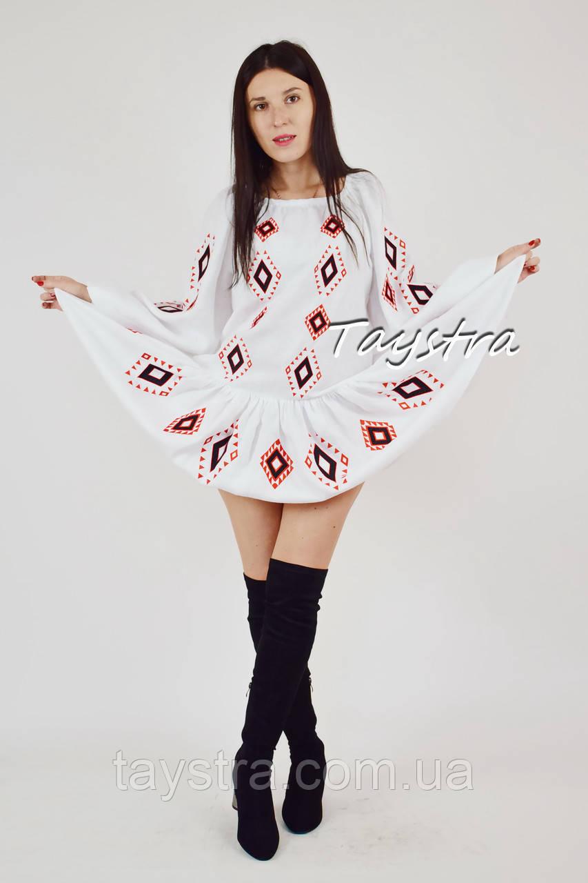 Белое платье  вышиванка бохо стиль этно, вышитое платье лен, вишита біла сукня