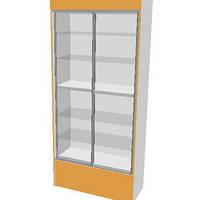 Шкаф-Стеллаж с раздвижными стеклянными дверцами