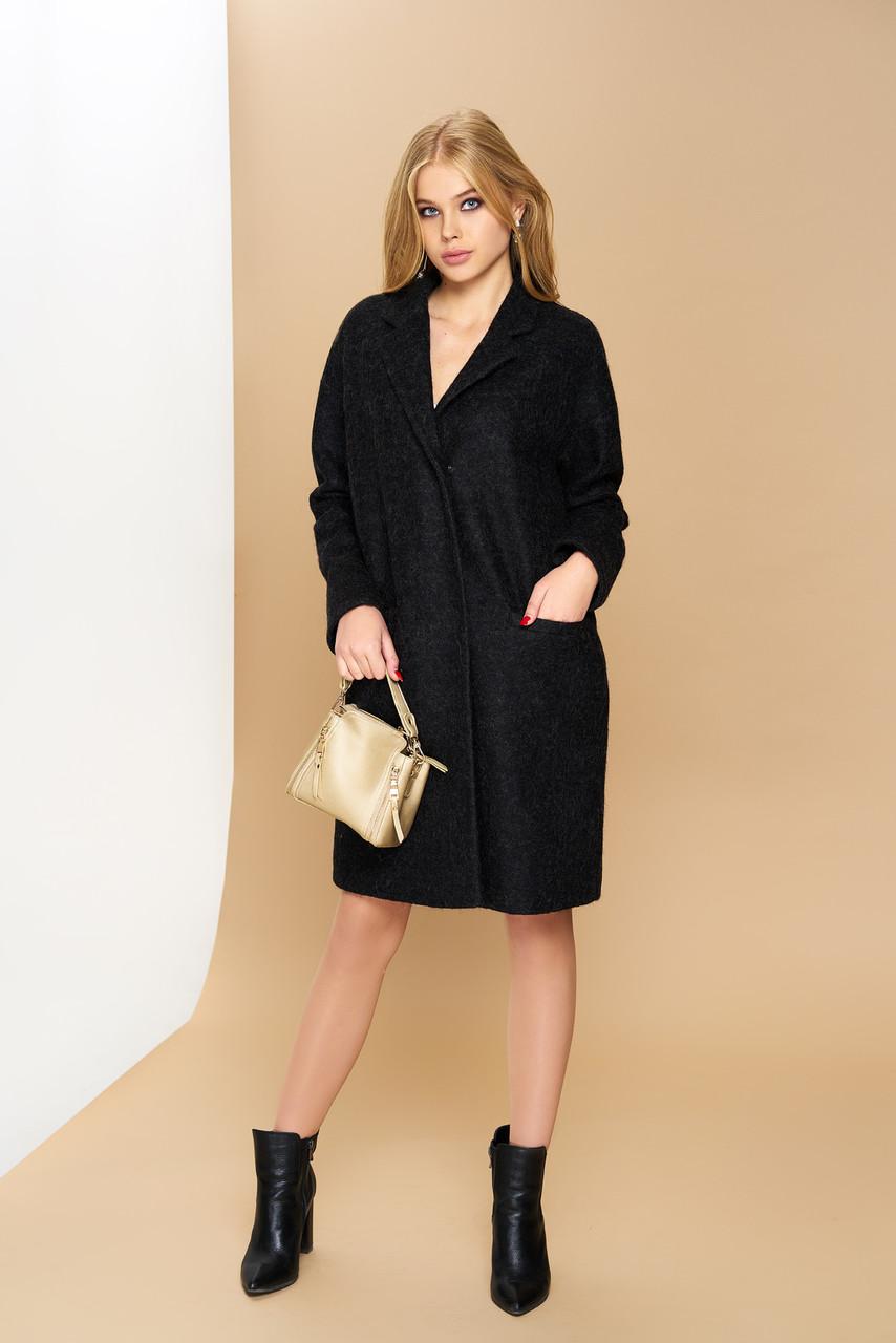 Женское демисезонное пальто оверсайз черное валяная шерсть