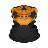 Бафф-маска с рисунком черепа  - оранжевый