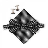 Краватка-метелик (галстук-бабочка), хустинка, запонки. Набір у семи кольорах. Чорні квадратики.